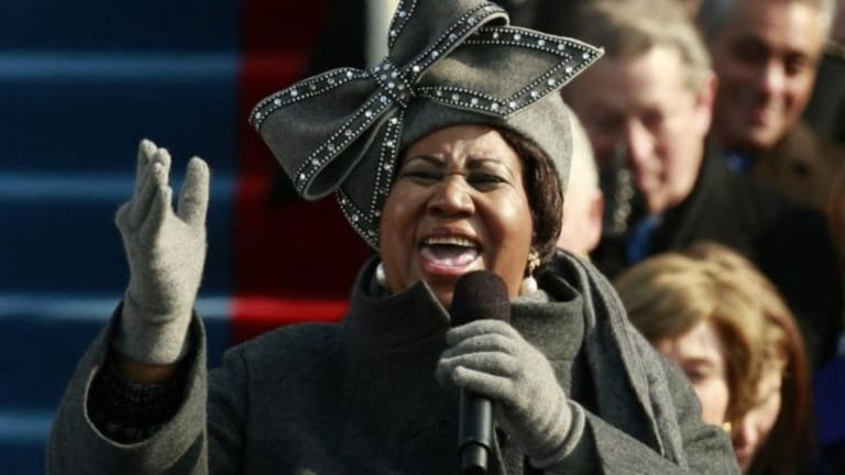 Aretha Franklin sings at Barack Obama's inauguration in 2009.