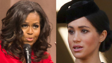 Michelle Obama (left) has offered some advice to Meghan, Duchess of Sussex (right).
