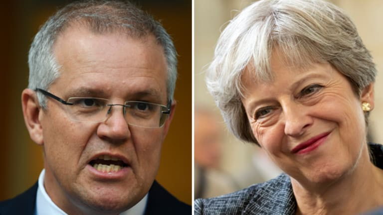 British Prime Minister Theresa May has had her first taste of Australia's revolving door leadership, calling Scott Morrison to congratulate him.
