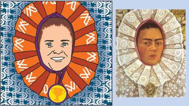 Faces of Frida: Illustration by Jim Pavlidis (left).