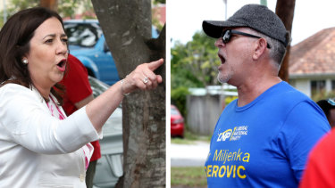 Queensland Premier Annastacia Palaszczuk is heckled by an LNP volunteer in her seat of Inala.