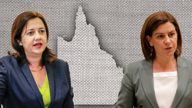 Premier Annastacia Palaszczuk (left) and opposition leader Deb Frecklington are making their final major pitches before the election.