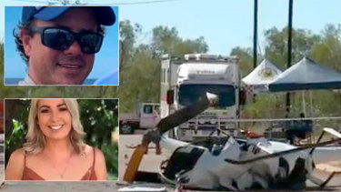 The chopper flown by Broome tourism operator Troy Thomas carried his daughter Mia and her friend as well as family friendMaddison Down.