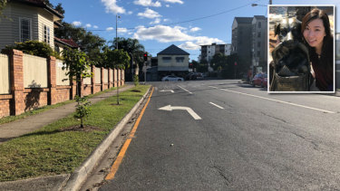 The yellow line on Bell St, Kangaroo Point. Inset:Ethel Chan.
