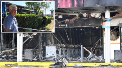 Inches from disaster: Cafe next door escapes Brisbane shop fire
