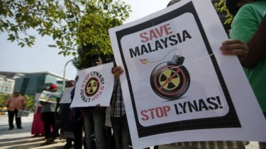 Protestors at Lynas Corp's rare earths processing facility in Malaysia.