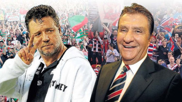 """""""He's still our foe but you know what? I would cross a road to help him"""": Russell Crowe on Roosters owner Nick Politis."""