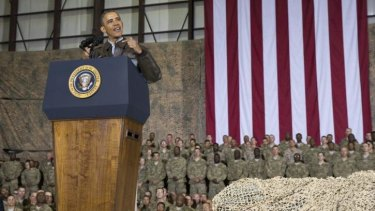 Then president Barack Obama speaks to US troops during a visit to Bagram in Afghanistan in 2014.