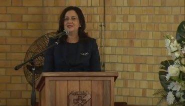 Queensland Premier Annastacia Palaszczuk speaks at the state funeral of former Labor deputy Tim Mulherin in Mackay September 15, 2020.