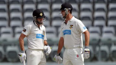 Cut: Shaun Marsh and Mitch Marsh batting together in the Sheffield Shield for Western Australia.