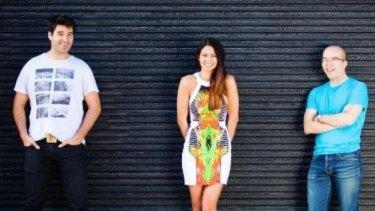 Canva co-founders Cameron Adams, Melanie Perkins and Clifford Obrecht.
