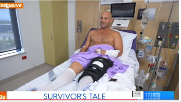 Teacher SamEdwardes recovering in hospital after he was attacked by a shark at Byron Bay last Sunday.