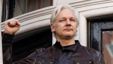 Julian Assange on a balcony at the Ecuadorian embassy in London.