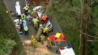 A tree has fallen on a car on the Maroondah Highway at Fernshaw.