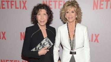 "Lily Tomlin and Jane Fonda attend premiere of Netflix's ""Grace & Frankie""."