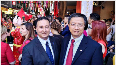 Labor MLC Shaoquett Moselmane with former staffer John Zhang. right.