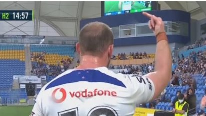 'Lost for words': Warriors issue apology as NRL fines Matt Lodge for flipping the bird