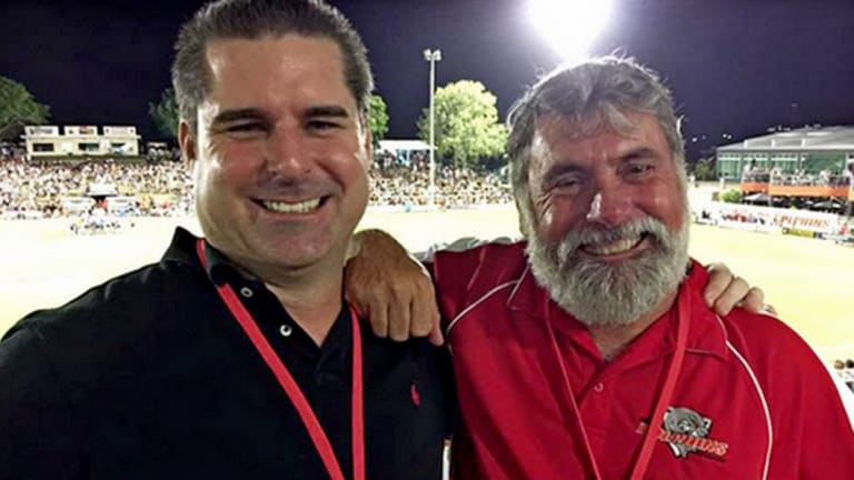 This photo of Shane Newcombe and Moreton Bay mayor Allan Sutherland at a Broncos pre-season match in Redcliffe last year was shared on Mr Newcombe's Facebook page.