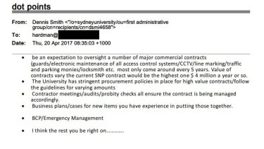 An email sent from Dennis Smith to Simon Hardman about his application for a job at Sydney University.