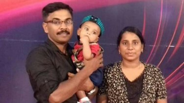 Puviyan Naranam, his wife Maramuthu and their one-year-old daughter, who were killed in the bomb blast at Zion Church Batticaloa, Sri Lanka.