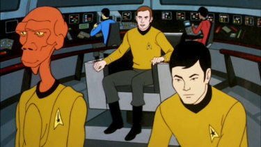 Arex (James Doohan), Spock (Leonard Nimoy), Captain Kirk (William Shatner), Uhura (Nichelle Nichols) and Sulu (George Takei) on the bridge of the USS Enterprise in Star Trek: The Animated Series.