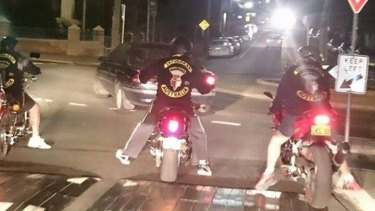 Satudarah OMCG members riding in their colours in Sydney.