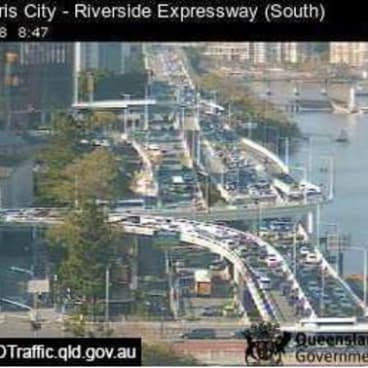 Riverside Expressway in Brisbane saw long delays due to a crash in early morning peak hour traffic.