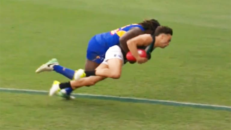Nic Naitanui faces a one-match ban for this dangerous tackle on Port's Karl Amon.