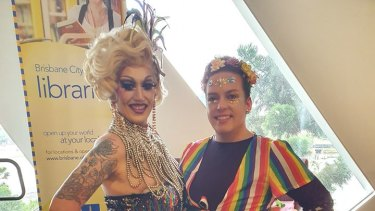 Entertainers Diamond Good-Rim and Johnny Valkyrie at the drag queen story event that was crashed by protesters.