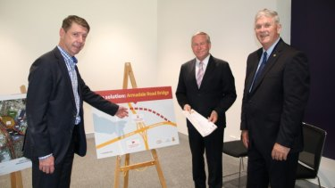 City of Cockburn chief executive Stephen Cain with former WA Premier Colin Barnett and City of Cockburn Mayor Logan Howett.