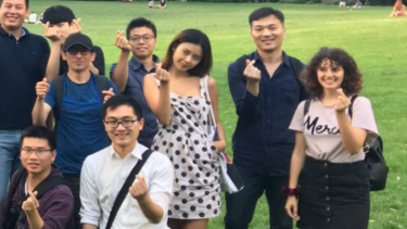 This photo of Aiia was taken at 7.56pm, just hours before she died. The  group posed using the tips of their fingers to make love hearts.