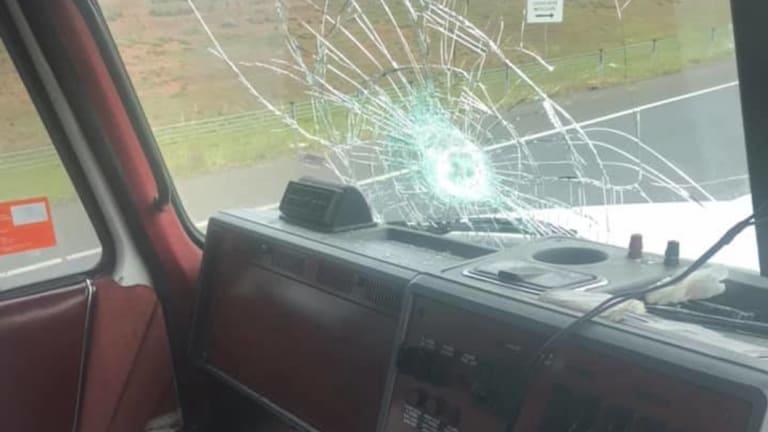 A rock broke the truck's windshield.