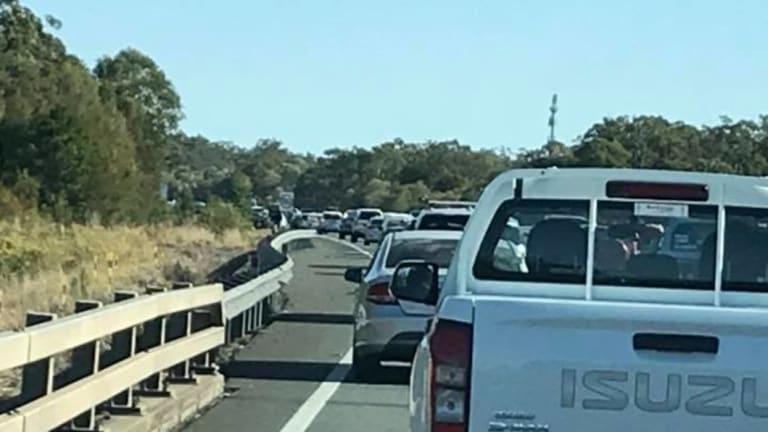 Motorists stuck in 30 kilometre tailbacks to Burpengarry after earlier accident.