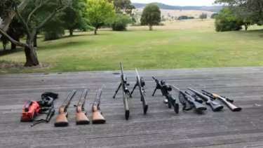 Guns on display at Tom Zhou's hunting property in Murrindindi.