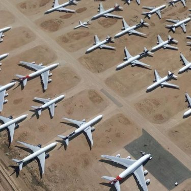 Qantas A380s are among  the aircraft in storage at the low-humidity Mojave Desert facility in California.