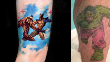 Artist-generated pictures depict a Wolverine versus Sabretooth tattoo and an Incredible Hulk tattoo.