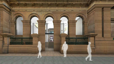 Artists' impression of the proposed new entrance way - and the changes to the windows proposed for the heritage-listed NAB Building on the corner of Creek and Queen Street.
