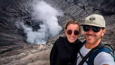 Jolie King and Mark Firkin at the brim of the crater of Mount Bromo on the Indonesian island of Java.