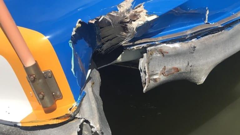 The damaged CityCat after hitting the Riverside Centre pontoon.
