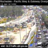Heavy traffic on the Gateway Motorway at Rochedale after a crash on Friday afternoon.
