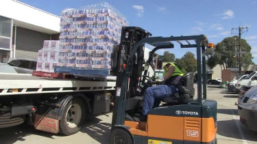 Alcohol seized by police from the Boronia warehouse in 2018.