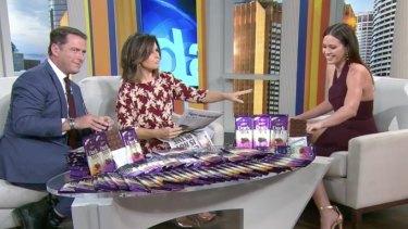 Jesinta Franklin promoting Cadbury on the Today Show.