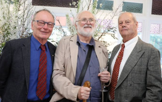 John Bell, Andrew McLennan and Bruce Beresford, lifelong friends from Sydney University, pictured  in 2019.