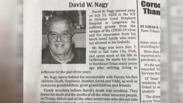 The obituary for David W. Nagy in Texas blames Donald Trump's response to the pandemic for his death.