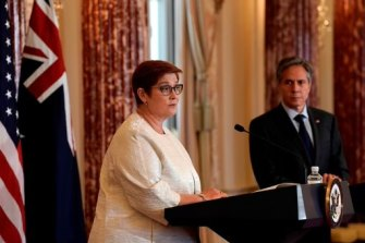 Australia's Foreign Minister Marise Payne at a press briefing with US Secretary of State Antony Blinken.
