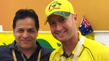 Kunal Sharma (left) with Michael Clarke.