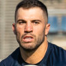 Roosters fullback James Tedesco training in Barcelona this week ahead of the World Club Challenge against St Helens.