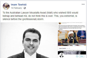 The Facebook post made by Imam Tawhidi about Moustafa Awad.