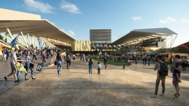 Artist impression of the northern entry to the Townsville stadium, where a life-sized statue of rugby league legend Johnathan Thurston will greet fans.