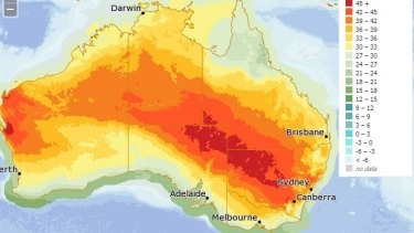 Australia Day's heat will be focused on NSW, outback South Australia and Queensland, and parts of Western Australia. Many of those regions will climb above 45 degrees.